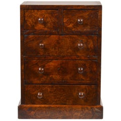 19th Century English Burled Walnut 5-Drawer Wellington Style Tabletop Chest