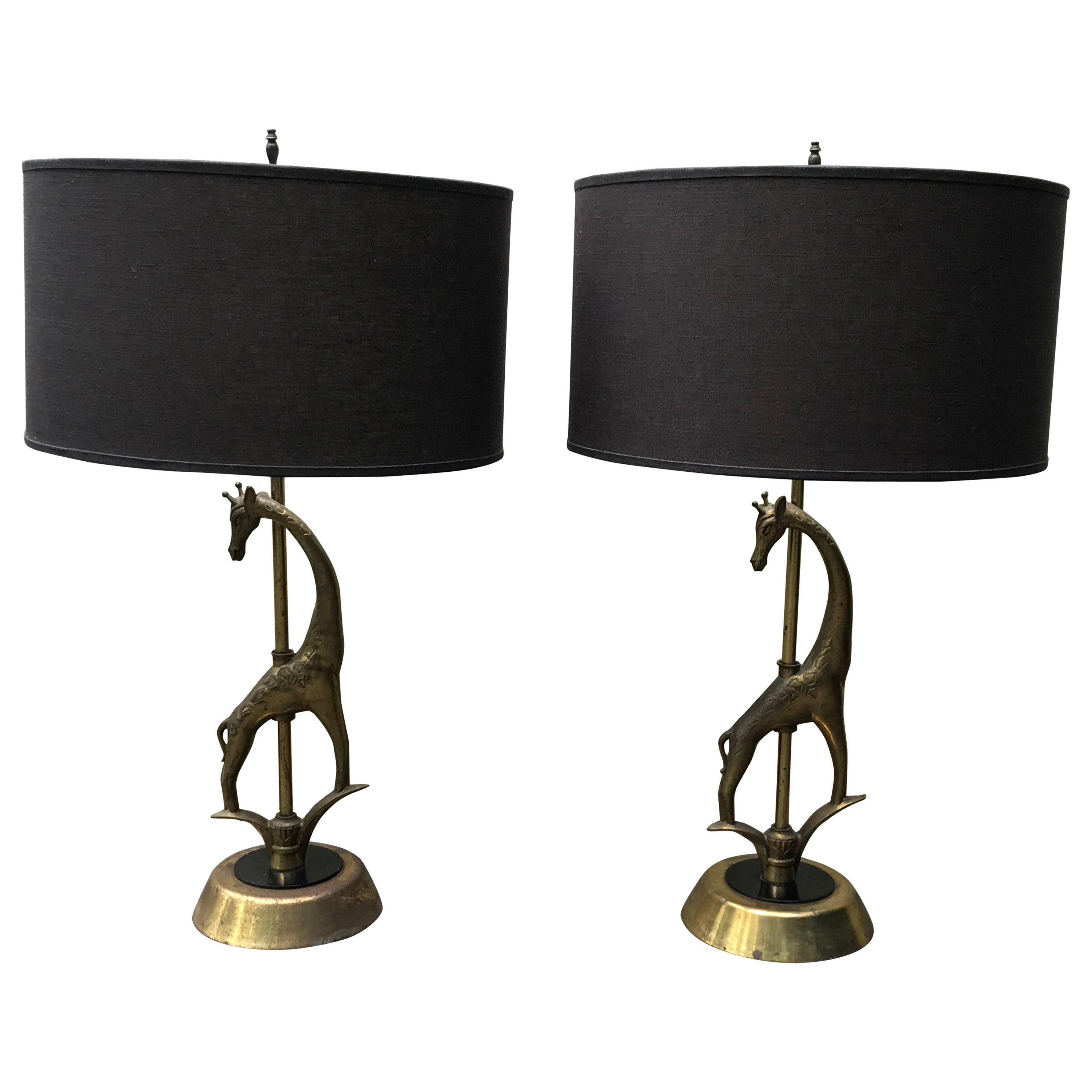 Pair of Mid Century Sculptural Giraffe Table Lamps by Rembrandt Lamp Co. 1950s
