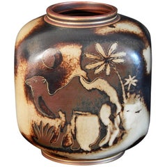 """Camels in Moonlight,"" Rare and Striking Art Deco Vase by Nylund for Rorstrand"