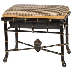 English Regency Style Faux Bamboo Paint and Parcel-Gilt Storage Bench