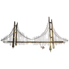 Signed Vintage Curtis Jere Golden Gate Bridge Wall Sculpture