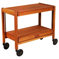 Pago Teak Expandable Rolling Cart, 1960s