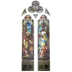 Monumental Set of Emil Frei Religious Stained Glass Panels