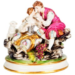Figurine of a Couple, Germany, Late 19th Century, Porcelain Hand-Painted