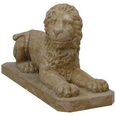 Lion Statue in Rosso Verona Marble by Kreoo