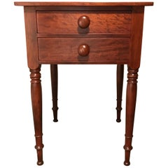 Sheraton 2-Drawer Stand in Cherry, circa 1820 North Shore, Massachusetts