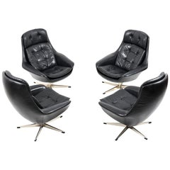 Set of Four Danish Black Leather Swivel Lounge Chair by H. W. Klein