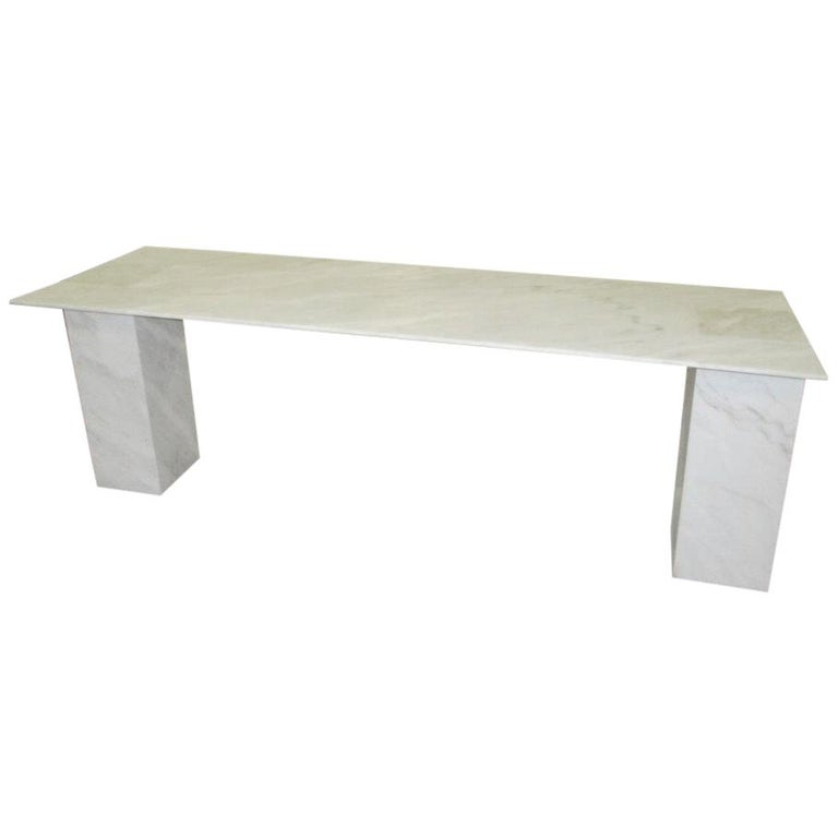 Rectangular Console Table in White Stone by Kreoo