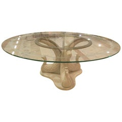 Paona Round Table in White Marble with Glass Top and Sculpted Base by Kreoo