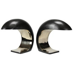 Pair of Nautilus Study Table Lamps in cast bronze by Christopher Kreiling Studio