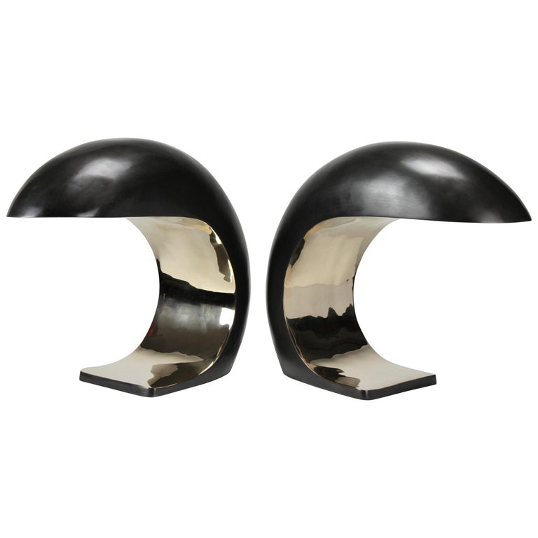 Pair of Nautilus Study Table Lamps in Bronze by Christopher Kreiling For Sale