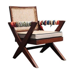Cross Leg Easy Armchair by Pierre Jeanneret with Shrunken Calf Cushion and Herme