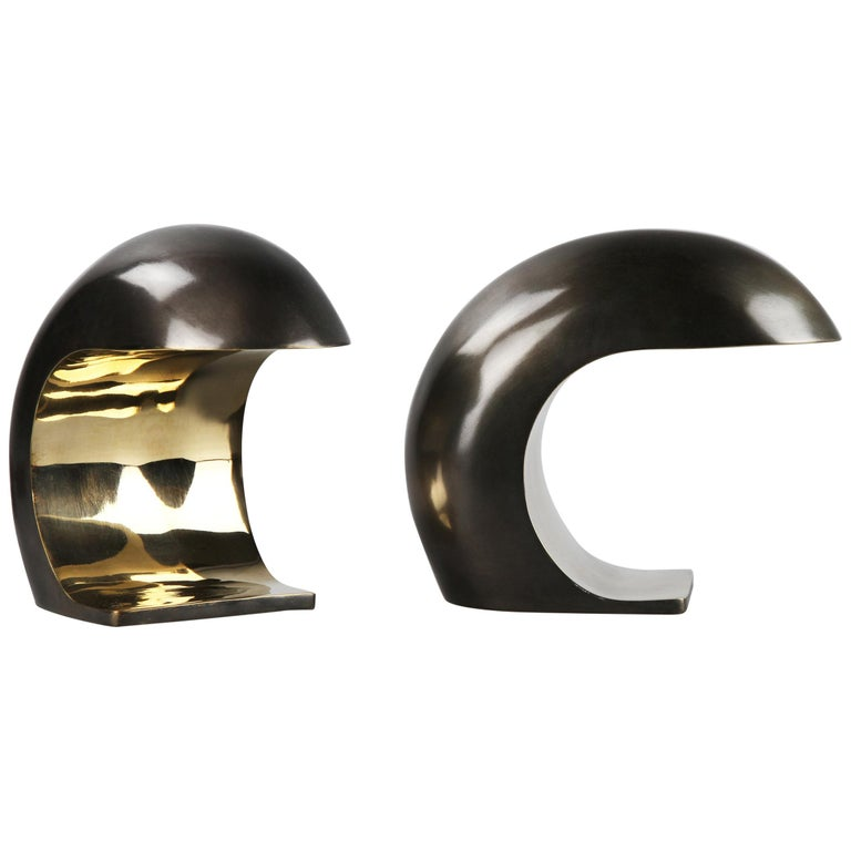 Pair of Nautilus Desk Lamps in Bronze by Christopher Kreiling Studio For Sale