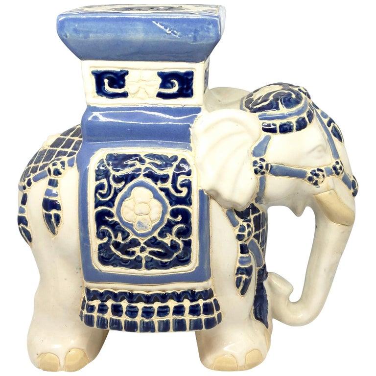 Petite Hollywood Regency Chinese Elephant Flower Pot Stand Vintage German