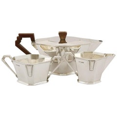 Antique Art Deco Style Sterling Silver Three-Piece Tea Service