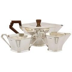 Antique Art Deco Sterling Silver Three-Piece Tea Service
