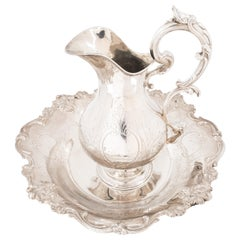 Set of French Silver Ewer and Basin, Late 19th Century