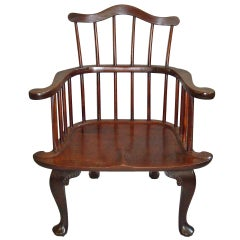 Rare George II Mahogany Windsor Armchair of Eccentric Design