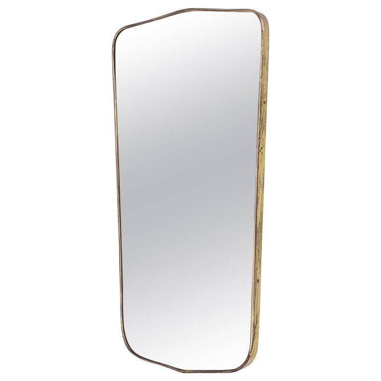 Italian Brass Mirror, 1950s