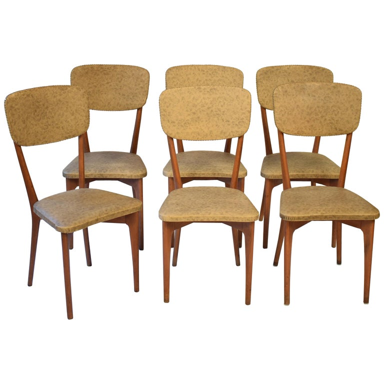"""Set of Six Chairs by Ico Parisi Model """"651"""", Italy, circa 1950"""