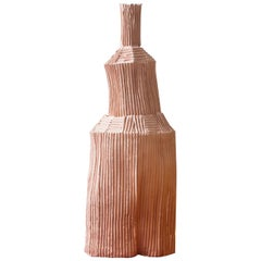 Contemporary Ceramic Fide Corteccia Texture Pink Decorative Bottle