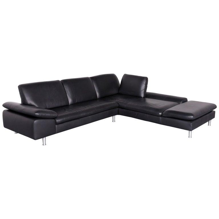 Willi Schillig Loop Designer Corner Sofa Black Leather Function Couch Modern