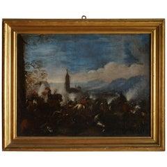 Early 18th Century, Italian School Pandolfo Reschi Battle Scene Oil Painting