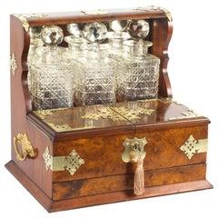 19th Century English Victorian Burr Walnut Three Decanter Tantalus