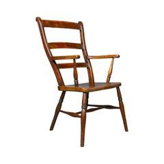 Antique Oxford Elbow Chair, Victorian, Windsor, Lath Back, Armchair, Elm