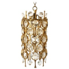 Stunning Gilt Brass Facet Cut Crystal Glass Chandelier by Palwa, 1960s, Germany