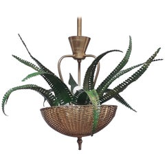 Midcentury Organic Brass and Metal Fern Imitation Chandelier