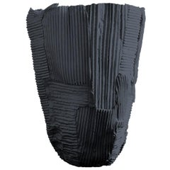 Contemporary Ceramic Tall Vase Cartocci Texture Black