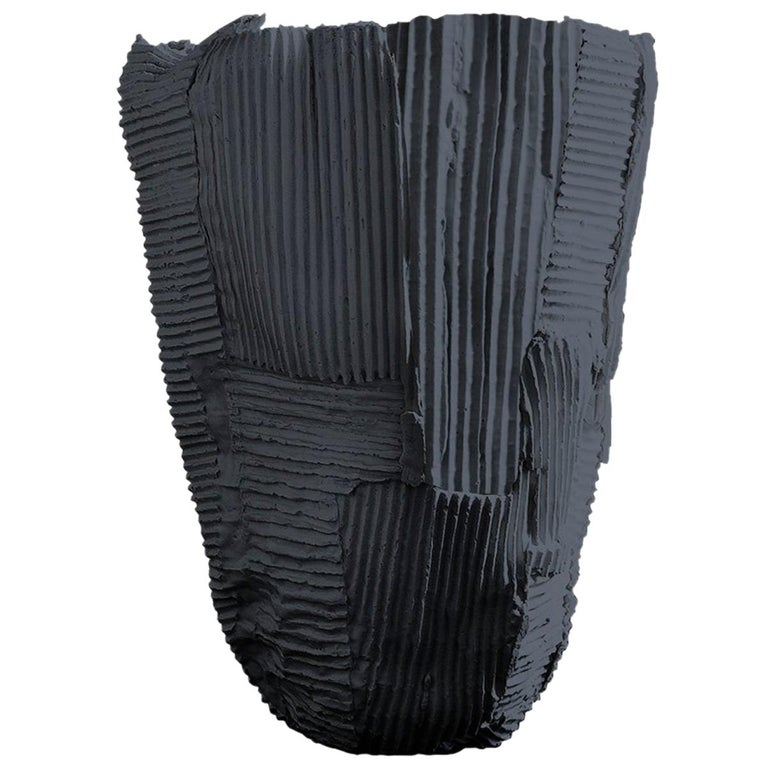 Contemporary Ceramic Tall Vase Cartocci Texture Black For Sale