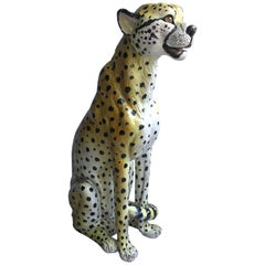 Huge Vintage Italian Terracotta Cheetah Statue