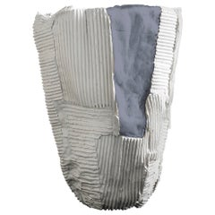 Contemporary Ceramic Cartocci Texture White and Gray Tall Vase