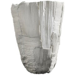 Contemporary Ceramic Cartocci Texture White Tall Vase