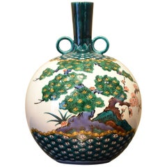 Japanese Contemporary Green Kutani Decorative Porcelain Vase by Master Artist