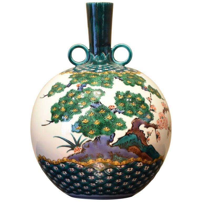 Japanese Contemporary Green Kutani Decorative Porcelain Vase by Master Artist