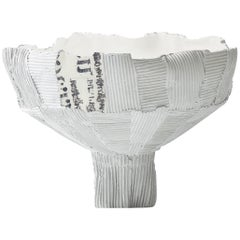 Contemporary Ceramic Anemone Footed Bowl Cartoccio Texture Print Insert & White