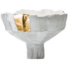 Contemporary Ceramic Anemone Small Footed Bowl Cartoccio Texture White and Gold