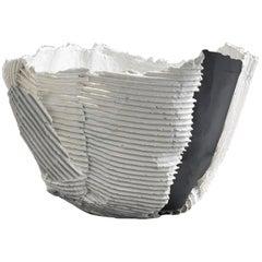 Contemporary Ceramic Low Bowl Cartoccio Texture White and Black Insert