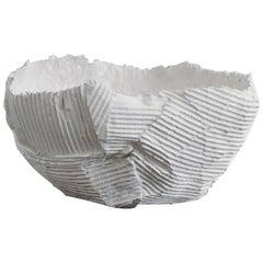 Contemporary Ceramic Cartocci Texture White Low Bowl