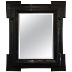 Large 19th Century Flemish Ebonized Ripple Frame Mirror