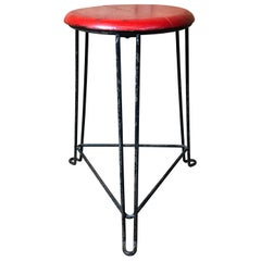 Retro 1960s Wooden Seat with Metal Frame Tomado Stool 'Red Seat'