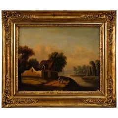 20th Century Antique Oil on Canvas French Painting with Landscape and Characters