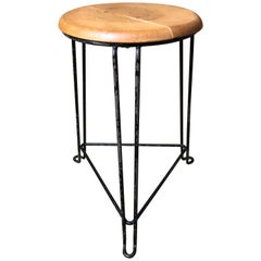 Retro 1960s Wooden Seat with Metal Frame Tomado Stool 'Clear Wooden Seat'