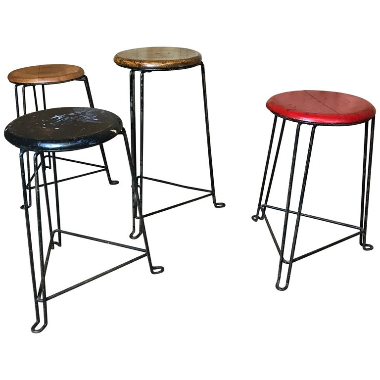 Set of 4 Retro 1960s Wooden Seat with Metal Frame Tomado Stools