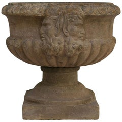 18th Century French Hand-Carved Sandstone Planter with Double Faun Head