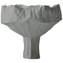 Contemporary Ceramic Anemone Footed Bowl Corteccia Texture Gray