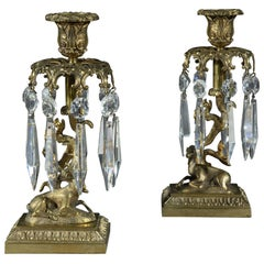 Pair of Regency 19th Century Brass Stag Candlestick Lustres